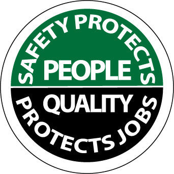 NMC HH80-HARD HAT EMBLEM, SAFETY PROTECTS PEOPLE QUALITY PROTECTS JOBS, 2 DIA, PS VINYL (PAK OF 25)
