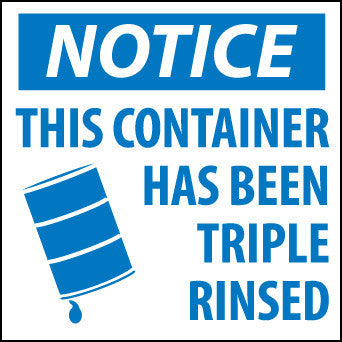 NMC HW24-LABELS, NOTICE THIS CONTAINER HAS BEEN TRIPLE RINSED, 6X6, PS PAPER (1 ROLL)