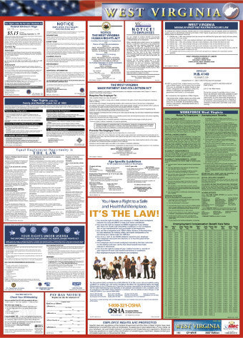 NMC LLP-WV-LABOR LAW POSTER, WEST VIRGINIA, 39X27 (1 EACH)