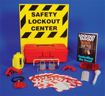 NMC LOK2-ELECTRICAL LOCKOUT CENTER, COMPLETE YELLOW BOARD, WIRE BASKET, TOOL BOX AND CONTENTS, 16 X 14 (1 EACH)