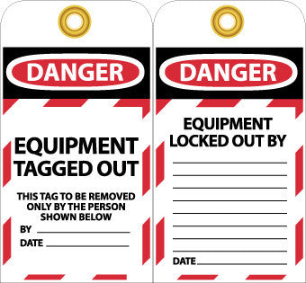 NMC LOTAG20-TAGS, LOCKOUT, DANGER EQUIPMENT TAGGED OUT . . ., 6X3, UNRIP VINYL (PAK OF 10)