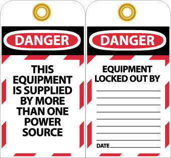 NMC LOTAG5-TAGS, LOCKOUT, DANGER THIS EQUIPMENT IS SUPPLIED. . ., 6X3, UNRIP VINYL (PAK OF 10)
