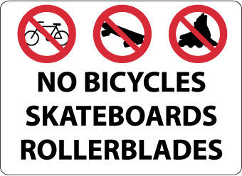 NMC M106AC-NO BICYCLES SKATEBOARDS ROLLERBLADES, GRAPHIC, 14X20, .040 ALUM (1 EACH)
