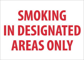 NMC M248PB-SMOKING IN DESIGNATED AREA ONLY, 10X14, PS VINYL (1 EACH)