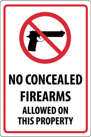 NMC M451G-NO CONCEALED FIREARMS ALLOWED ON THIS PROPERTY, 18X12, .040 ALUM (1 EACH)