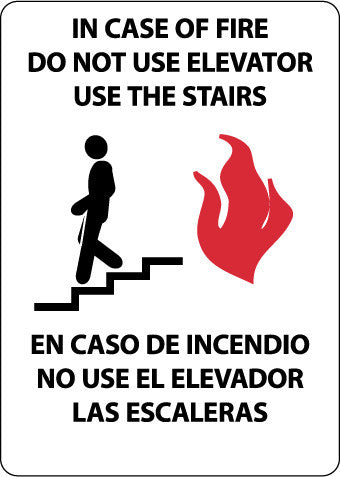 NMC M740AB-IN CASE OF FIRE DO NOT USE ELEVATOR USE STAIRS (GRAPHIC), BILINGUAL 14X10, .040 ALUM (1 EACH)