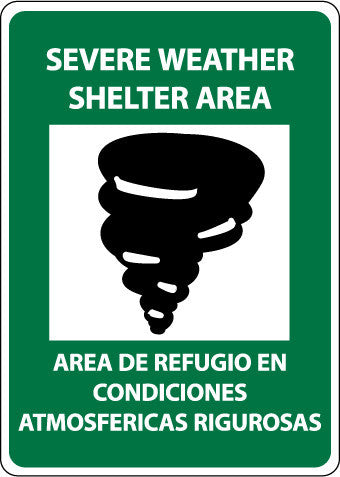NMC M741PB-SEVERE WEATHER SHELTER AREA (GRAPHIC), BILINGUAL, 14X10, PS VINYL (1 EACH)