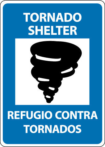 NMC M742AB-TORNADO SHELTER (GRAPHIC), BILINGUAL, 14X10, .040 ALUM (1 EACH)