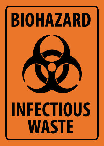 NMC M94RB-BIOHAZARD INFECTIOUS WASTE, 10X14, RIGID PLASTIC (1 EACH)