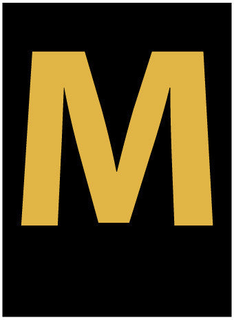 NMC HIL15M-LETTER, M, 1.5 HIGH VISIBILITY YELLOW BLACK, PS VINYL (1 EACH)