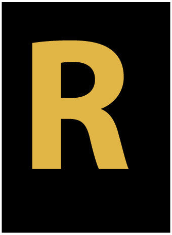 NMC HIL15R-LETTER, R, 1.5 HIGH VISIBILITY YELLOW BLACK, PS VINYL (1 EACH)