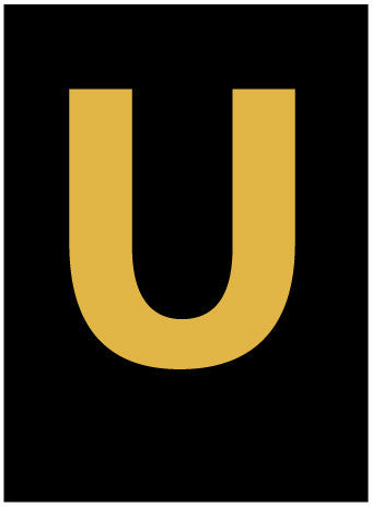 NMC HIL25U-LETTER, U, 2.5 HIGH VISIBILITY YELLOW BLACK, PS VINYL (1 EACH)