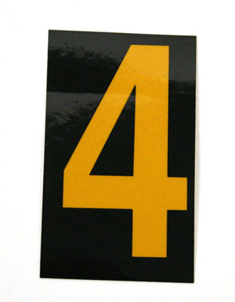 NMC HIN154-NUMBER, 4, 1.5 HIGH VISIBILITY YELLOW BLACK, PS VINYL (1 EACH)