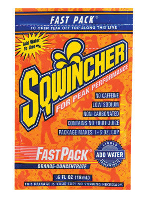Sqwincher 015304-OR Fast Pack .6 Ounce Liquid Concentrate Packet Orange Electrolyte Drink - Yields 6 Ounces (50 Single Serving Packets Per Box)  (1/BX)
