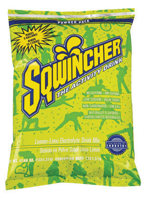 Sqwincher 016408-LL 47.66 Ounce Instant Powder Concentrate Packet Lemon Lime Electrolyte Drink - Yields 5 Gallons  (16/EA)