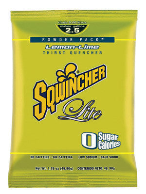 Sqwincher 016800-LL 1.76 Ounce Instant Powder COuncentrate Packet Lemon Lime Electrolyte Drink - Yields 2.5 Gallons  (1/PK)