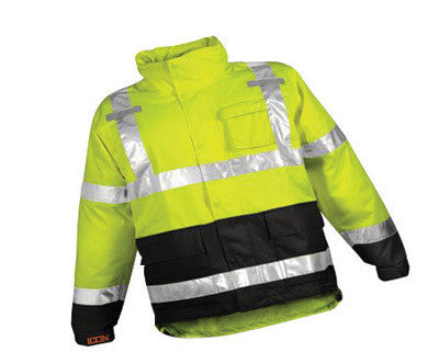 "Tingley J24122-M Medium 32 1/2"" Fluorescent Yellow/Green/Black Icon Job Sight 12 mil Polyurethane And Polyester Class 3 Level 2 Rain Jacket With Storm Fly Front And Zipper Closure, Silver Reflective Tape And Attached Hood  (1/EA)"