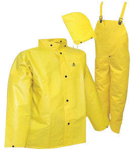 Tingley S56307-3X 3X Yellow DuraScrim 10.5 mil PVC And Polyester 3 Piece Rain Suit With Storm Fly Front Closure (Includes Jacket With Snap Fly Front, Hood And Bib Pants)  (1/EA)