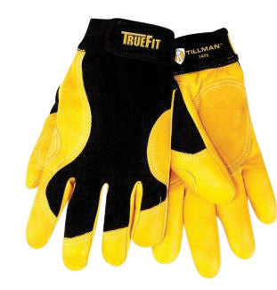 Tillman 1475XL X-Large Black And Gold TrueFit Full Finger Top Grain Cowhide Premium Mechanics Gloves With Elastic Cuff, Double Leather Palm, Reinforced Thumb And Smooth Surface Fingers  (1/PR)
