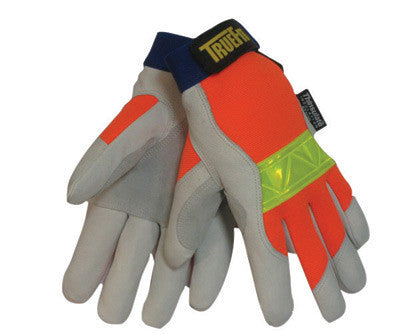 Tillman 1486L Large Hi-Viz Orange And Gray TrueFit Top Grain Pigskin Thinsulate Lined Cold Weather Gloves With Reinforced Thumb, Elastic Cuff, Hook And Loop Closure, Rough Side Out Double Palm And Hi-Viz Orange Spandex Back  (1/PR)