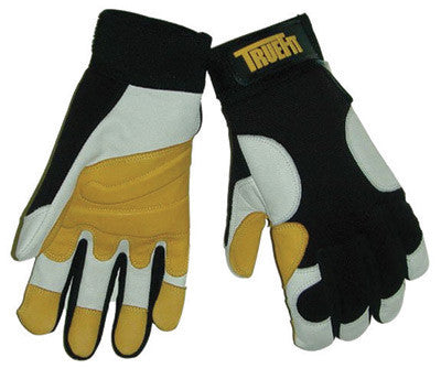 Tillman 1490S Small Black, Gold And Pearl TrueFit Full Finger Top Grain Goatskin Super Premium Mechanics Gloves With Elastic Cuff, Nylon Spandex Back, Goatskin Double Palm And Thumb, Reinforced Fingertips And Additional Padding  (1/PR)
