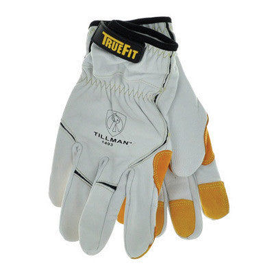Tillman 1493L Large White TrueFit Fingertip Top grain Kevlar And Goatskin Super Premium Mechanics Gloves With Elastic Cuff, Double Reinforced Fingertips And Hook And Loop Closure  (12/PR)