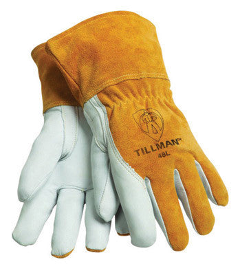 "Tillman 48L Large Brown Top Grain Goatskin Fleece Lined Standard Grade MIG Welders Gloves With Straight Thumb, 3 1/2"" Cuff, Kevlar Stitching And Elastic Back  (1/PR)"