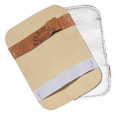 "Tillman 550X 5 1/2"" X 7 1/2"" Silver And Tan Aluminized Rayon  Goldengard Heat Resistant Backhand Pad  (1/EA)"