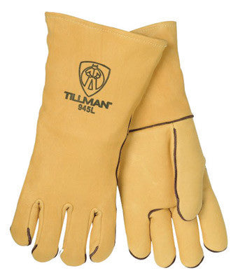 "Tillman 945L Large 14"" Gold Top Grain Elkskin Wool Lined Super Premium Grade Stick Welders Gloves With Straight Thumb, Welted Finger And Kevlar Lock Stitching (Carded)  (1/PR)"