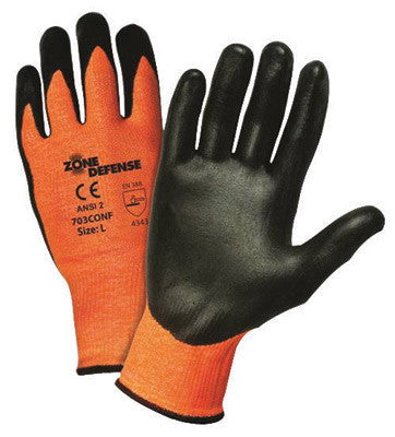 West Chester 703CONF/L Large Zone Defense Cut And Abrasion Resistant Black Nitrile Foam Palm Coated Work Gloves With Elastic Knit Wrist  (1/PR)