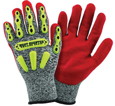 West Chester 713SNTPRG/L Large R2 FLX Cut Resistant Red Nitrile Dipped Palm Coated Work Gloves With Elastic Wrist  (1/PR)