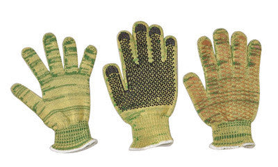 Wells Lamont 1881XL X-Large Green And Yellow Whizard Metalguard Dotted Style Gunn Cut 7 gauge Heavy Weight Kevlar And Stainless Steel Ambidextrous Cut Resistant Gloves With Knit Wrist, Dyneema Lined, PVC Dots Coating, Polyester Blend  (1/PR)
