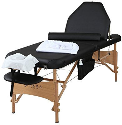 Sierra Comfort Adjustable Back Rest All-Inclusive Portable Massage Tables, Black