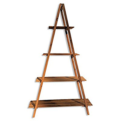 A-Frame Folding Rack, Shelf, Sustainable Wood, Approx. 5 Ft Tall, 4 Tier Shelves