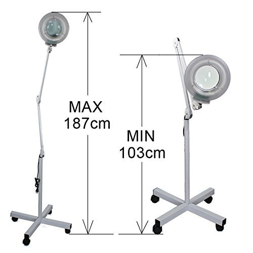 Facial Magnifying Magnifier Floor Lamp 5 Diopter w/ Rolling Floor Stand Base Adjustable Floor Mag Light Salon Facial Equipment