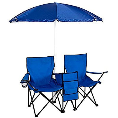 Rental - Picnic Double Folding Chair w Umbrella Table Cooler Fold Up Beach Camping Chair
