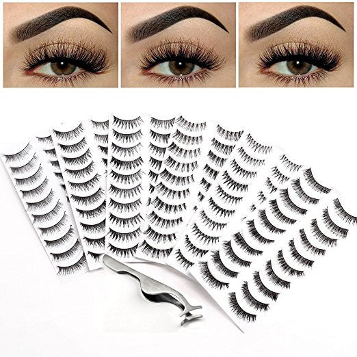 60 Pairs Humanlike False Eyelashes with Applicator Remover Tweezers - 6 Packs of Reusable Strip Fake Eyelash Extension