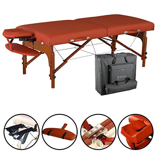 "31"" Santana LX Portable Massage Table Package, Memory Foam Reiki Mountain Red"