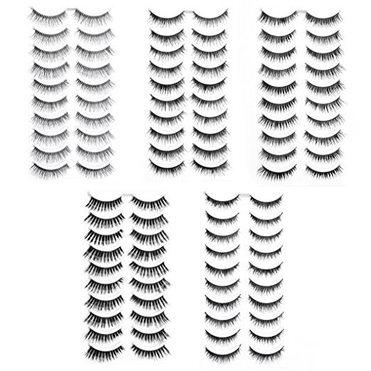 50 Pairs Black Long & Natural Thick Soft Reusable False Eyelashes Fake Eye Lash for Makeup Cosmetic - 5 Kinds of Style