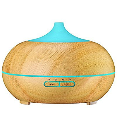 Aroma Essential Oil Diffuser, Wood Grain Ultrasonic Cool Mist Humidifier for Office Home Bedroom Living Room Study Yoga Spa