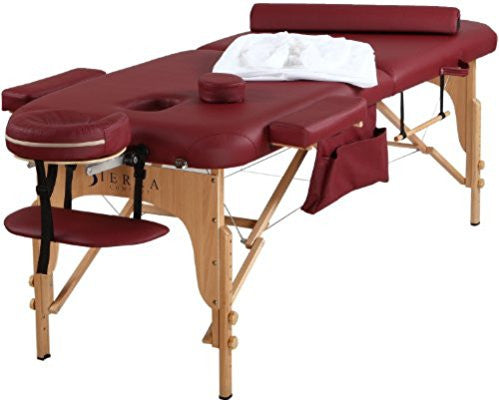 Sierra Comfort Portable Massage Table Burgundy -  Free FEDEX Shipping