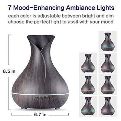 Diffuser 400ml Ultrasonic Cool Mist Humidifier with Color LED Lights Changing for Home, Yoga, Office, Spa, Bedroom, Baby Room - Wood Grain