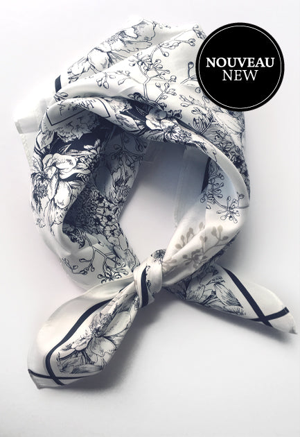 Carré de foulard de soie Twill exclusif. Square silk scarf Twill exclusive.