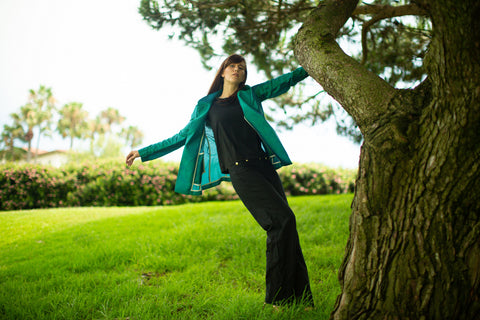 The Chic Women's Blazer in Green Peacock - Unlined - Sustainably Made