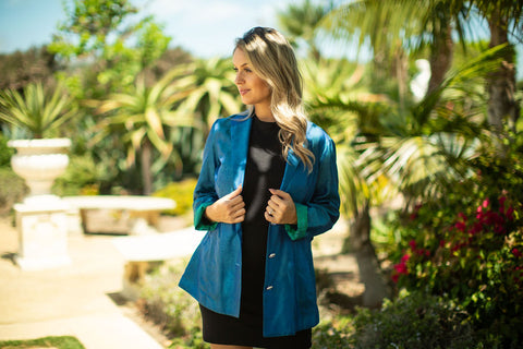 Classy Chic Blazer for Women Made Sustainably - Italian Cupro Brocade