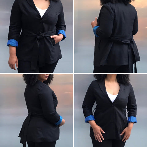 Black Blazer for Women Made Sustainably with Specialty Cuffs