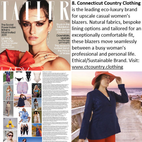 Connecticut Country Clothing in Tatler July 2019 (women's blazers made sustainably)