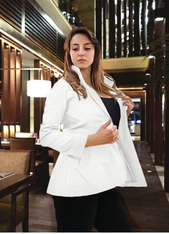 White Women's Blazer in Organic Cotton - Sustainable Fabrics - Ethical Brand