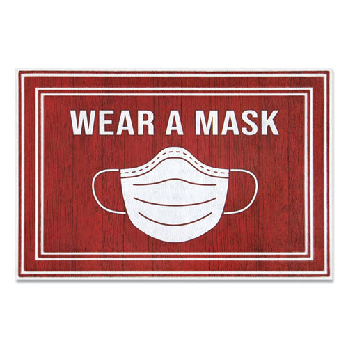 "Message Floor Mats, 24 X 36, Red-white, ""wear A Mask"""