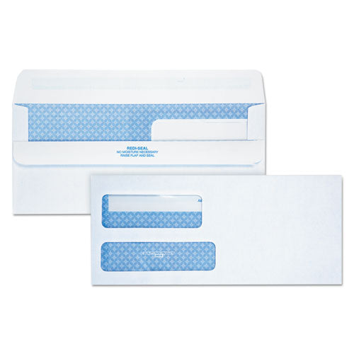 QualityPrk 2-Window Redi-Seal Security-Tinted Envelope, #9, 3 7-8 X 8 7-8, White, 250-ct